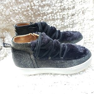 MAA Leather/Fur Lace Up Silver Glitter Sneakers